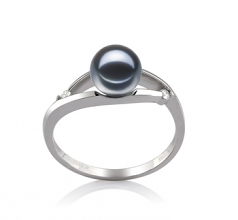 6-7mm AAAA Quality Freshwater Cultured Pearl Ring in Tanya Black