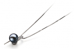 7-8mm AAAA Quality Freshwater Cultured Pearl Pendant in Destina Black
