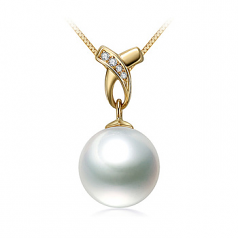 10-11mm AAA Quality South Sea Cultured Pearl Pendant in Monica White