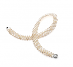 3-4mm AA Quality Freshwater Cultured Pearl Necklace in V-Neck White
