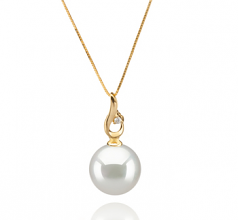 10-11mm AAA Quality South Sea Cultured Pearl Pendant in Darlene White