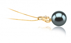 10-11mm AAA Quality Tahitian Cultured Pearl Pendant in Darlene Black