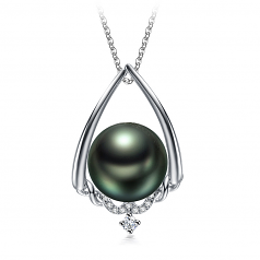 10-11mm AAA Quality Tahitian Cultured Pearl Pendant in Susan Black