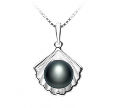 7-8mm AA Quality Freshwater Cultured Pearl Pendant in Shell Black