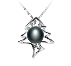 7-8mm AA Quality Freshwater Cultured Pearl Pendant in Fishbone Black