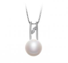 9-10mm AA Quality Freshwater Cultured Pearl Pendant in Hiriko White