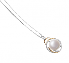 12-13mm AA Quality Freshwater Cultured Pearl Pendant in Zina White
