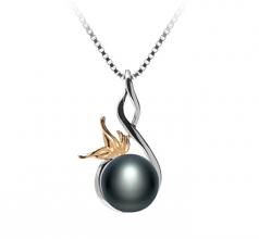8-9mm AAA Quality Freshwater Cultured Pearl Pendant in Hester Black