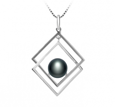 8-9mm AAA Quality Freshwater Cultured Pearl Pendant in Lilian Black