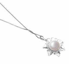 11.5-12mm AA Quality Freshwater Cultured Pearl Pendant in Zoe White