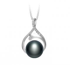 10-11mm AAA Quality Freshwater Cultured Pearl Pendant in Daiya Black