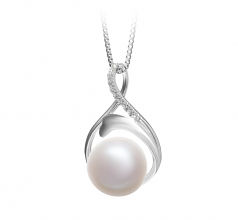 10-11mm AAA Quality Freshwater Cultured Pearl Pendant in Daiya White
