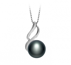 10-11mm AAA Quality Freshwater Cultured Pearl Pendant in Adalia Black