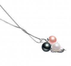 6-7mm AAAA Quality Freshwater Cultured Pearl Pendant in Grape Multicolor