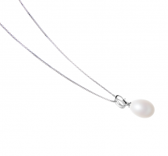 10-11mm AA - Drop Quality Freshwater Cultured Pearl Pendant in Denise White
