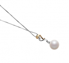 10-11mm AAAA Quality Freshwater Cultured Pearl Pendant in Brianna White