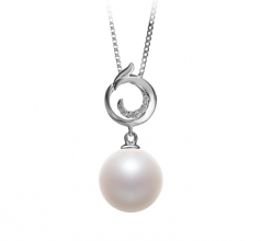 10-11mm AAAA Quality Freshwater Cultured Pearl Pendant in Linda White