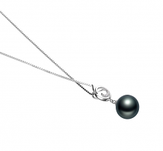 10-11mm AAA Quality Tahitian Cultured Pearl Pendant in Linda Black