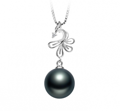 10-11mm AAA Quality Tahitian Cultured Pearl Pendant in Phoenix Black