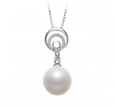 10-11mm AAAA Quality Freshwater Cultured Pearl Pendant in Meredith White