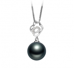 10-11mm AAA Quality Tahitian Cultured Pearl Pendant in Yael Black