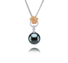 9-10mm AAA Quality Tahitian Cultured Pearl Pendant in Pamela Black