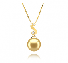 10-11mm AAA Quality South Sea Cultured Pearl Pendant in Gisela Gold
