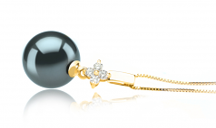 10-11mm AAA Quality Tahitian Cultured Pearl Pendant in Hilda Black