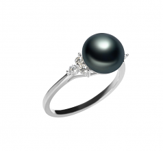 8-9mm AAA Quality Freshwater Cultured Pearl Ring in Dacey Black