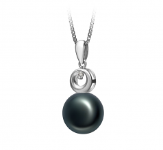 9-10mm AA Quality Freshwater Cultured Pearl Pendant in Sonia Black
