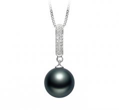 10-11mm AAA Quality Tahitian Cultured Pearl Pendant in Talitha Black