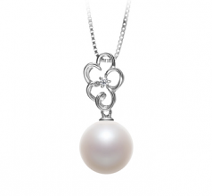 10-11mm AAAA Quality Freshwater Cultured Pearl Pendant in Hilary White