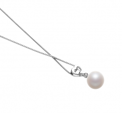10-11mm AAAA Quality Freshwater Cultured Pearl Pendant in Gabrielle White