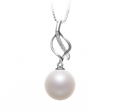 10-11mm AAAA Quality Freshwater Cultured Pearl Pendant in Leah White