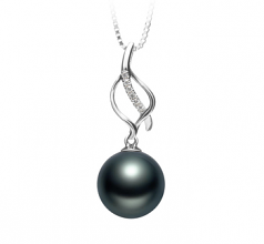 10-11mm AAA Quality Tahitian Cultured Pearl Pendant in Leah Black