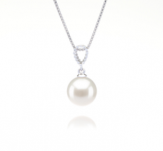 9-10mm AAAA Quality Freshwater Cultured Pearl Pendant in Karen White
