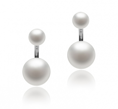6-11mm AAA Quality Freshwater Cultured Pearl Earring Pair in Zelda White