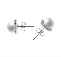 7-8mm AA Quality Freshwater Cultured Pearl Earring Pair in Louisa White
