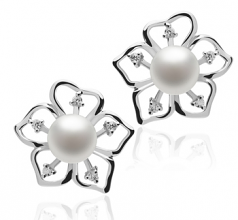 7-8mm AAAA Quality Freshwater Cultured Pearl Earring Pair in Sunflower White