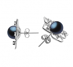 7-8mm AAAA Quality Freshwater Cultured Pearl Earring Pair in Sunflower Black
