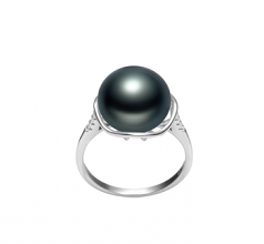 11-12mm AAA Quality Freshwater Cultured Pearl Ring in Kalina Black