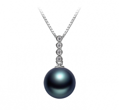 10-11mm AAA Quality Tahitian Cultured Pearl Pendant in Ross Black