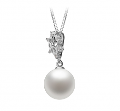 10-11mm AAAA Quality Freshwater Cultured Pearl Pendant in Snow White