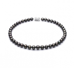 9.2-10.9mm AA+ Quality Tahitian Cultured Pearl Necklace in Black