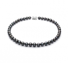 9-11.4mm AA+ Quality Tahitian Cultured Pearl Necklace in Black
