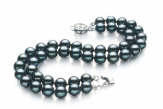 6-7mm AA Quality Japanese Akoya Cultured Pearl Bracelet in Mayra Black