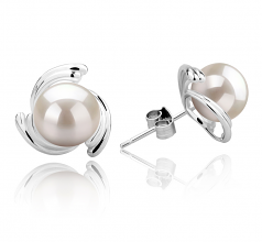 8-9mm AAAA Quality Freshwater Cultured Pearl Earring Pair in Eva White