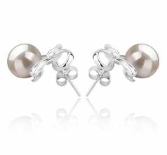 8-9mm AAAA Quality Freshwater Cultured Pearl Earring Pair in Kayla White