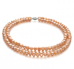 6-7mm A Quality Freshwater Cultured Pearl Necklace in Jara Pink