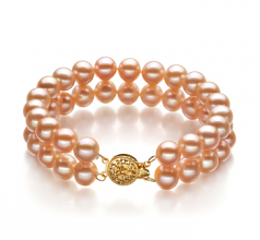 7-8mm AA Quality Freshwater Cultured Pearl Bracelet in Maxima Pink